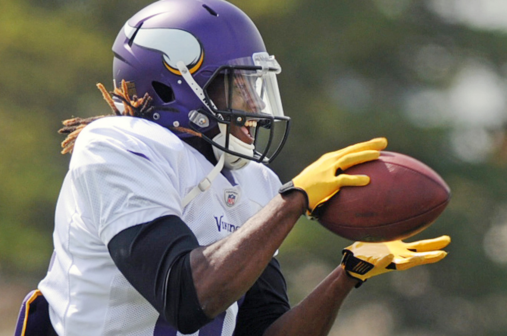 . Vikings wide receiver and first-round draft pick Cordarrelle Patterson gleefully grabs a pass during the last practice of training camp.  (Pioneer Press: Chris Polydoroff)