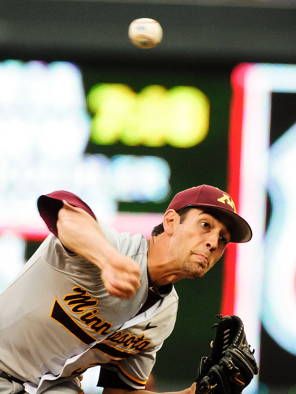 . Minnesota pitcher Billy Soule throws in the ninth. (Pioneer Press: Ben Garvin)