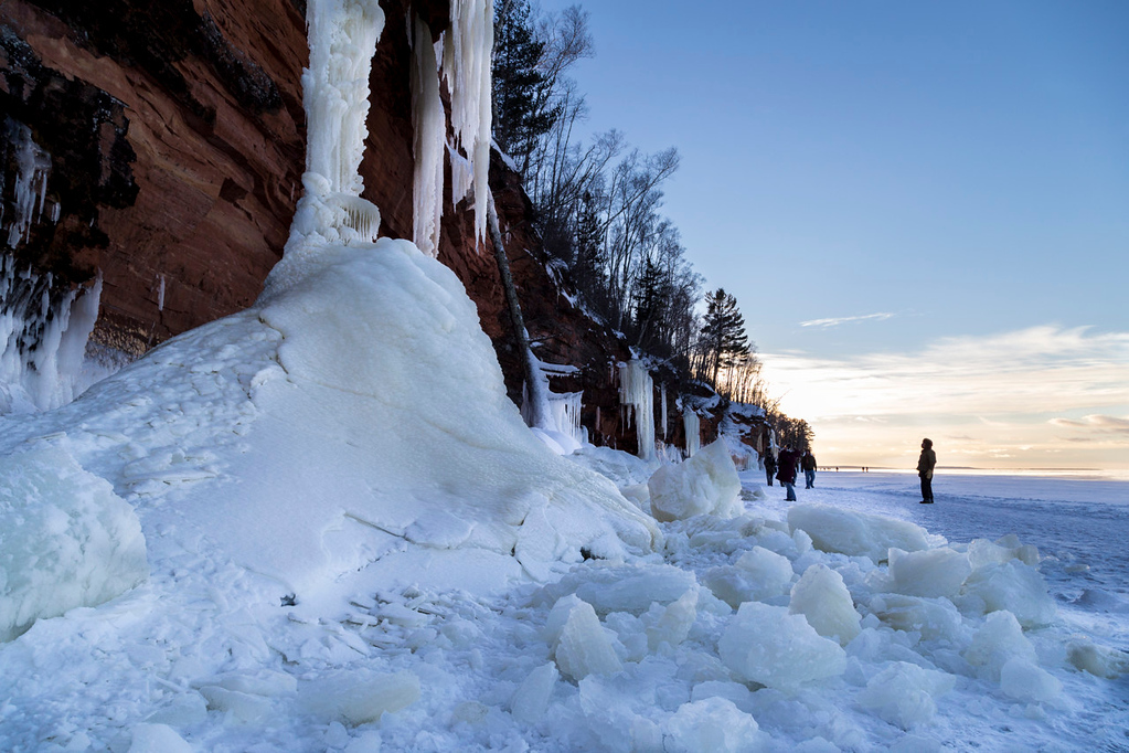 . Several frozen waterfalls along the mainland cliffs of the Apostle Islands National Lakeshore helped make stunning and unique views on the Lake Superior shoreline. (Pioneer Press: Andy Rathbun)