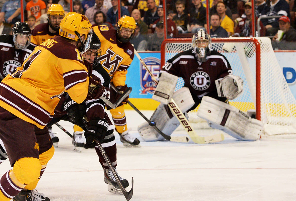 . Minnesota junior forward Sam Warning slap shot from the circle flies towards Union College junior goalie Colin Stevens in the second period of the NCAA Frozen Four Championship Game at the Wells Fargo Center in Philadelphia, Saturday, April 12, 2014.  (Pioneer Press: John Autey)