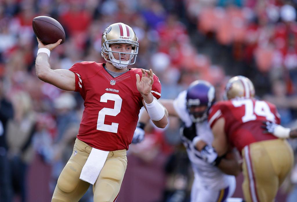 . 49ers quarterback Colt McCoy passes against the Vikings during the second quarter. (AP Photo/Ben Margot)