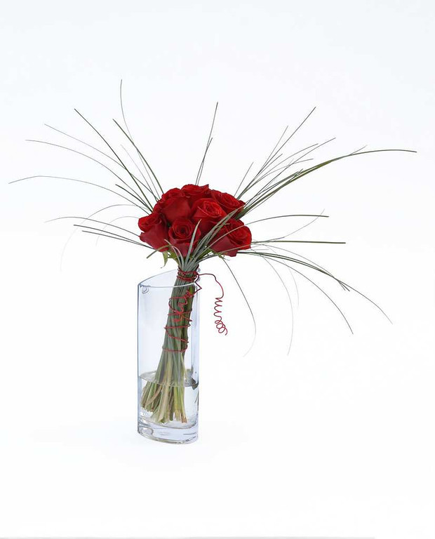 . Hand-tied roses with bear grass accents in a heart-shape cylinder vase. Starting at a dozen ($75) at Bachman�s Floral, Gift & Garden locations, including Maplewood and Apple Valley. Also available at bachmans.com.