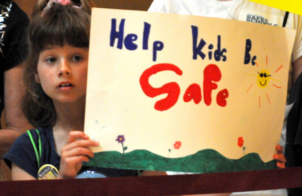 . Lydia Ross, 9, of Forest Lake joined her mom and brother to picket in favor of a bill aimed at curbing school bullying. Democrats reluctantly declared the bill a casualty of the dwindling clock. (Pioneer Press: John Doman)
