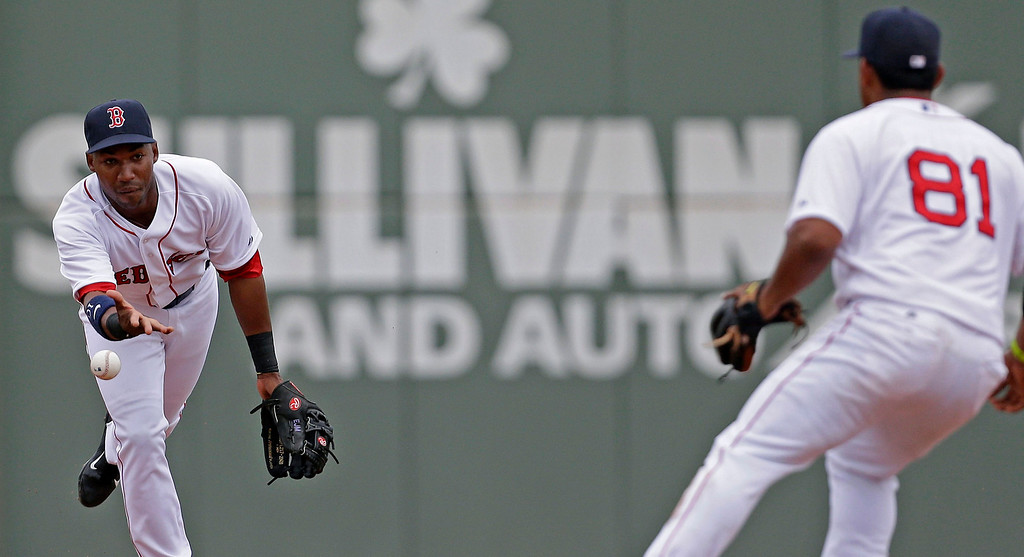 . Boston Red Sox shortstop Jonathan Herrera tosses the ball to second baseman Heiker Meneses (81) to force out Minnesota Twins Chris Colabello to end the seventh inning of an exhibition baseball game in Fort Myers, Fla., Saturday, March 29, 2014.  The Twins won 7-4. (AP Photo/Gerald Herbert)