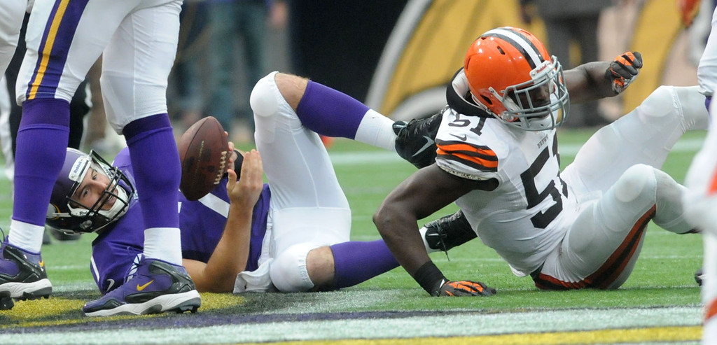. Vikings quarterback Christian Ponder reacts after he is sacked by Browns linebacker Barkevious Mingo for a 1-yard loss during the third quarter. (Pioneer Press: Sherri LaRose-Chiglo)