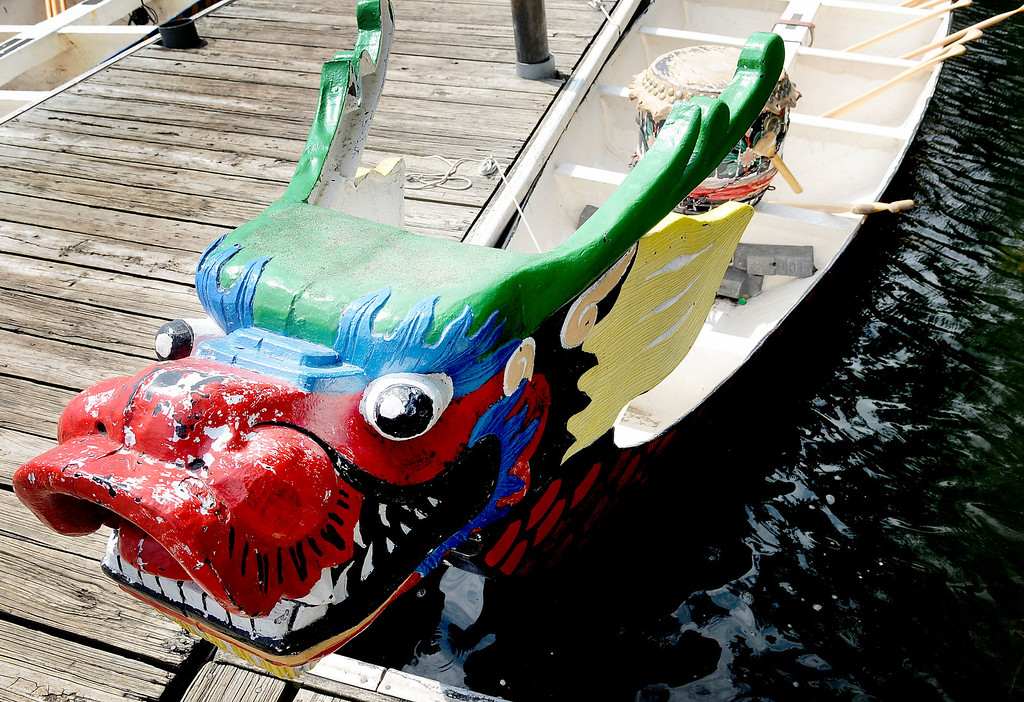 . One of four dragon boats transported from Iowa awaits its crew for the Dragon Festival\'s dragon boat races. (Pioneer Press: Sherri LaRose-Chiglo)