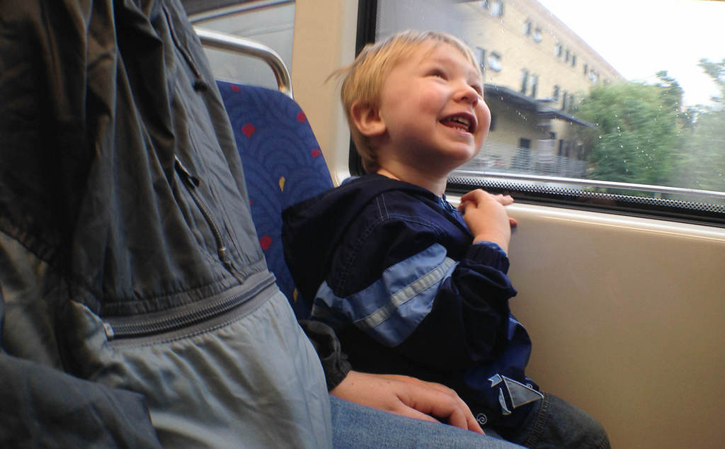 . A child reacts to the a departing train on opening day.  (Pioneer Press: Ben Garvin)