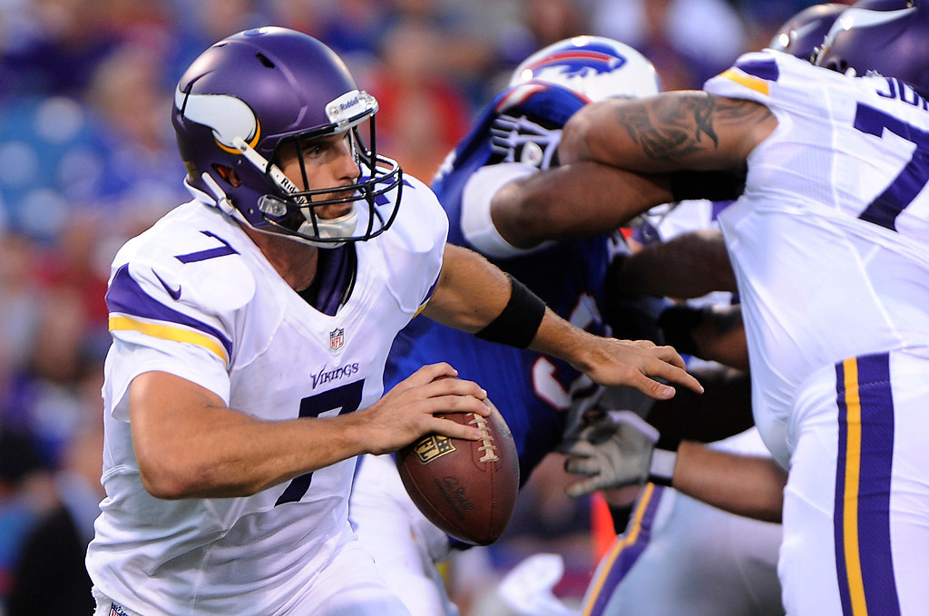 . Minnesota Vikings quarterback Christian Ponder looks to pass during the first half of an NFL preseason football game against the Buffalo Bills Friday, Aug. 16, 2013, in Orchard Park, N.Y.  (AP Photo/Gary Wiepert)