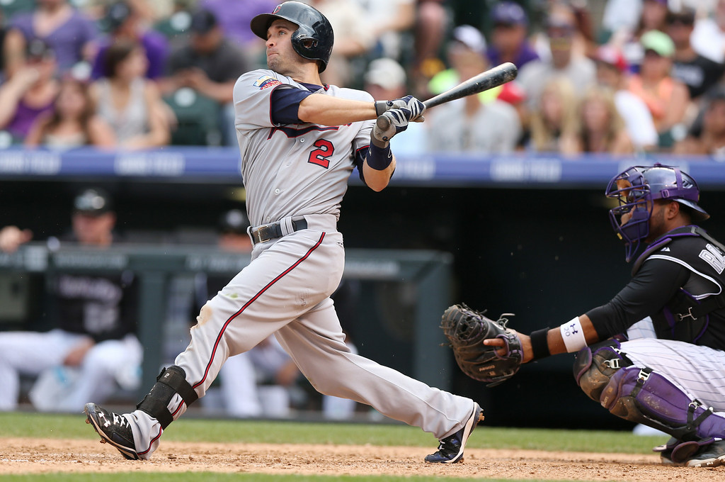 . Minnesota Twins\' Brian Dozier, left, follows the flight of his three-run home run as Colorado Rockies catcher Wilin Rosario looks on in the ninth inning. Dozier hit a solo home run to lead off the eighth inning as well. (AP Photo/David Zalubowski)