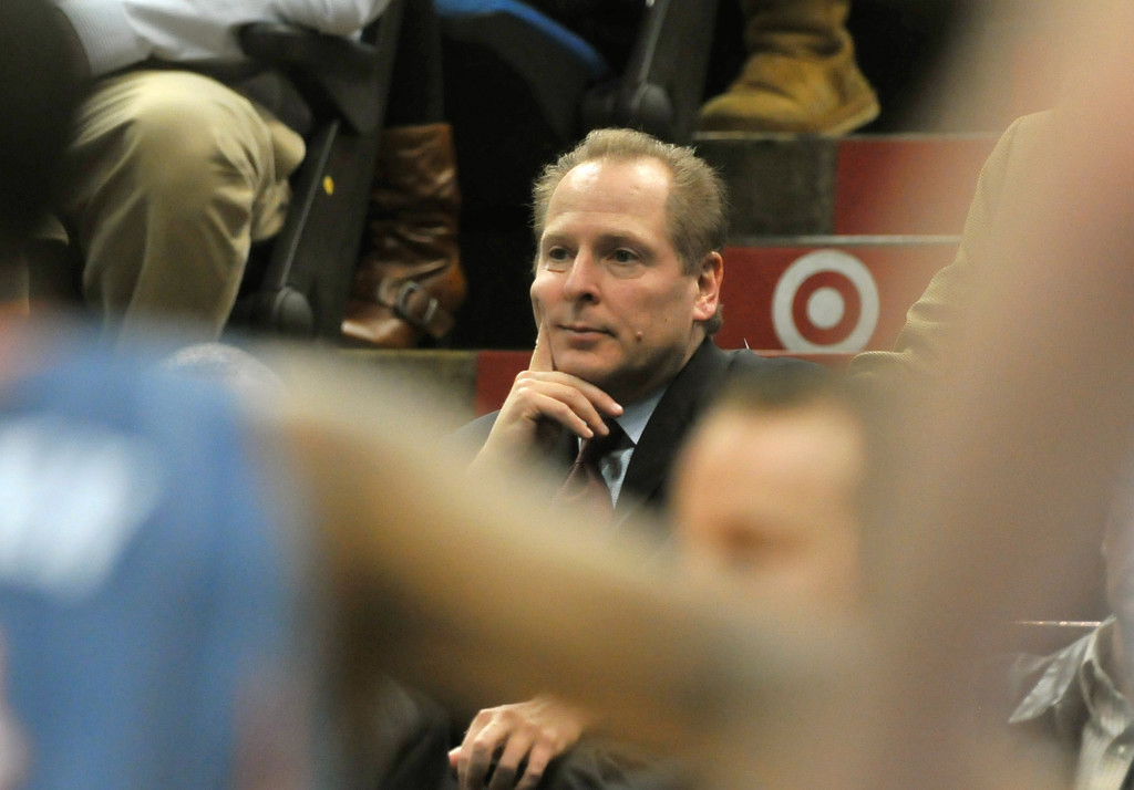 . David Kahn watches his team take on the Charlotte Bobcats at Target Center in Minneapolis on January 5, 2010.   (Pioneer Press: John Autey)