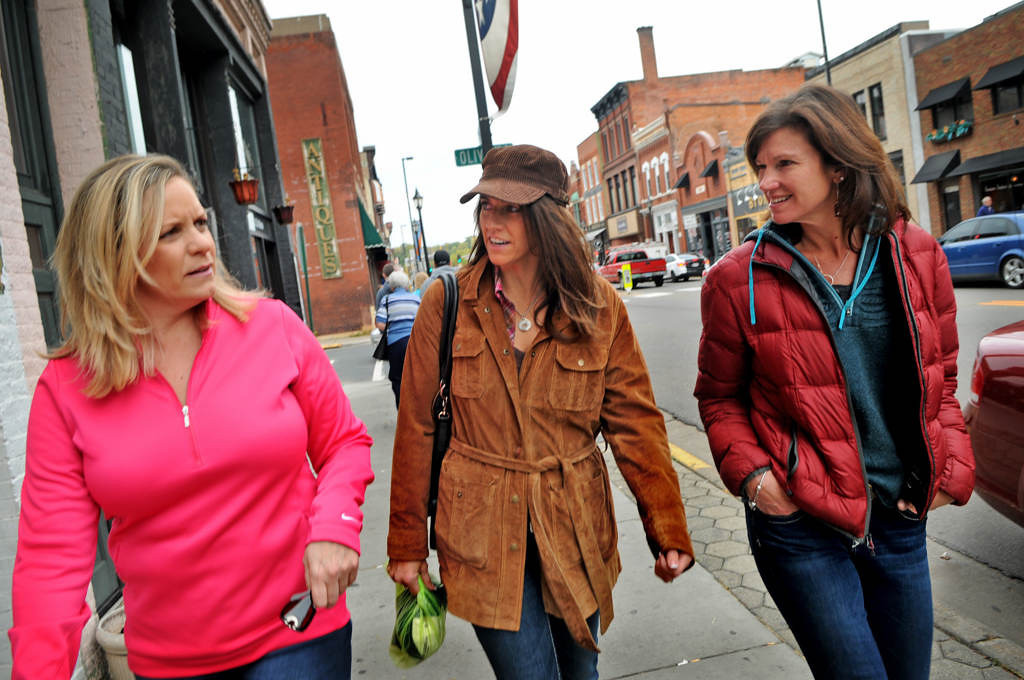 . Amy Mogren of Oakdale, Beth Brzinski of Woodbury and Sara Havill of Seattle, who have been friends since first grade in North St. Paul, spend an October day together in Stillwater. (Pioneer Press: Jean Pieri)
