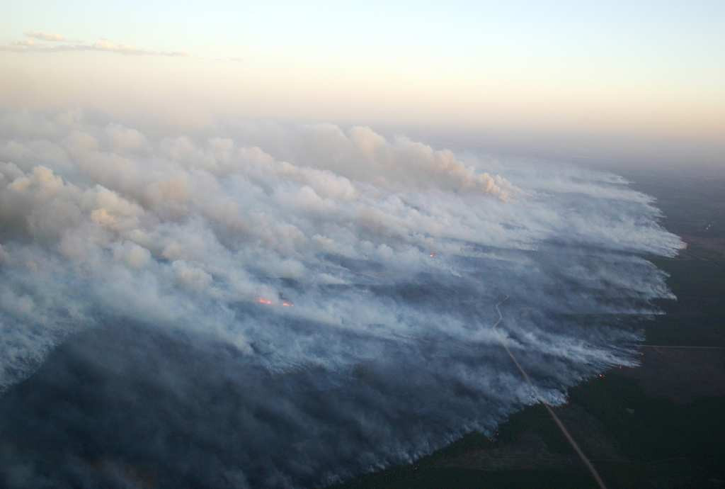 . The Wisconsin Department of Natural Resources says the wildfire in Douglas County is about 90 percent contained Wednesday morning, meaning firefighters have stopped most of the fire from spreading. (Wisconsin DNR photo)