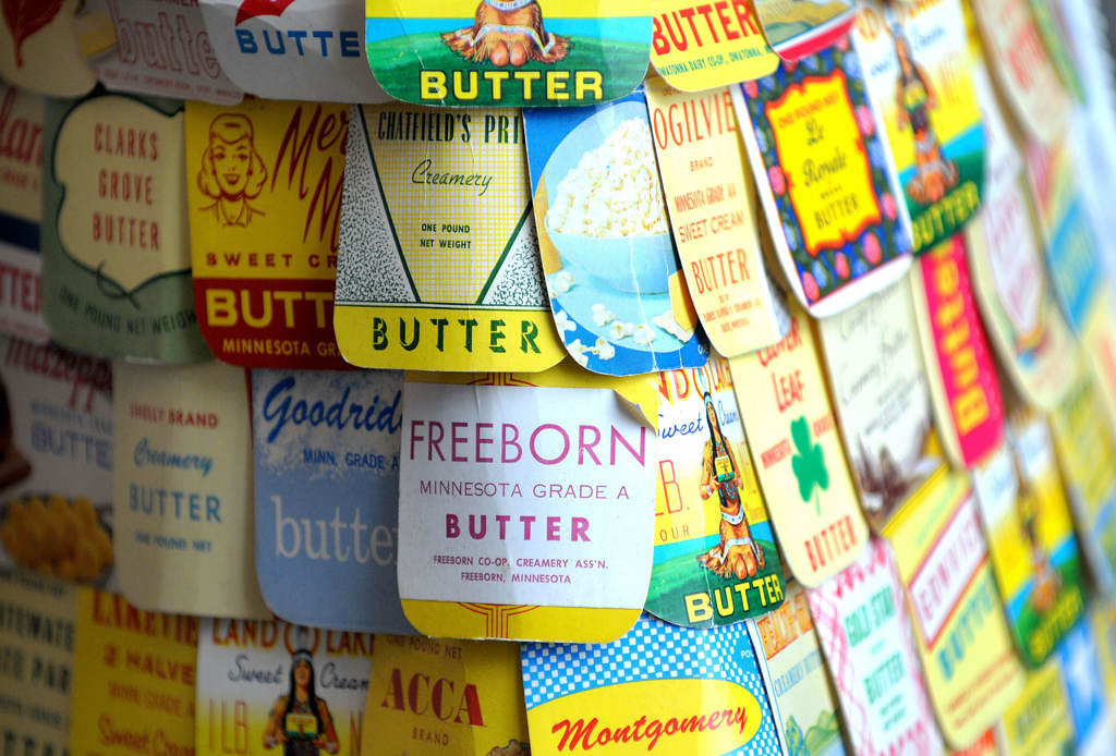 . The orginal butter carton dress was made of approximately 475 squares from one-pound butter cartons representing all the creameries in Minnesota in 1965. (Pioneer Press: Sherri LaRose-Chiglo)