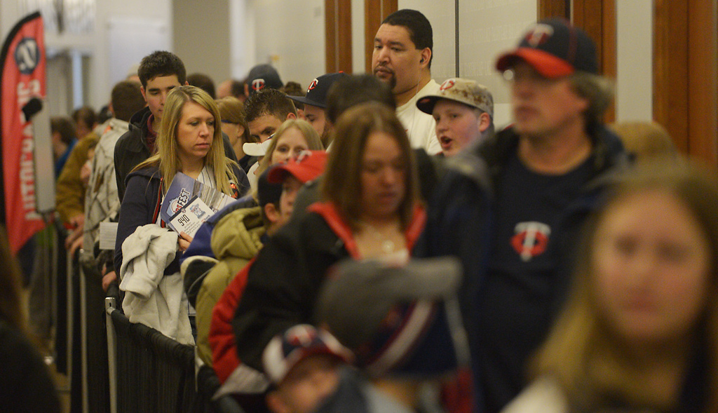 . The lines were long to get Twins first baseman Joe Mauer\'s autograph at Twinsfest at Target Field, Saturday, January 25, 2014(Pioneer Press: John Autey)
