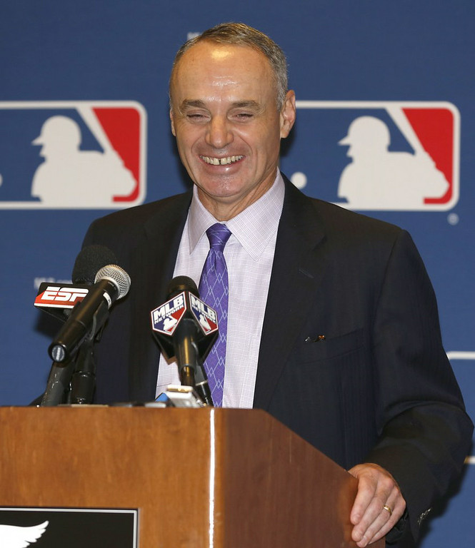 ". <p><b> Incoming baseball commissioner Rob Manfred, who�s succeeding Bud Selig, has made it clear that his first priority in office will be � </b> </p><p> A. Maintaining the sport�s popularity </p><p> B. Negotiating a new labor agreement </p><p> C. Keeping a major league jackboot on Pete Rose�s throat </p><p><b><a href=""http://www.twincities.com/ci_26336307/ap-source-brosnan-withdraws-from-mlb-vote\"" target=\""_blank\"">LINK</a></b> </p><p>    (AP Photo/Reinhold Matay)</p>"