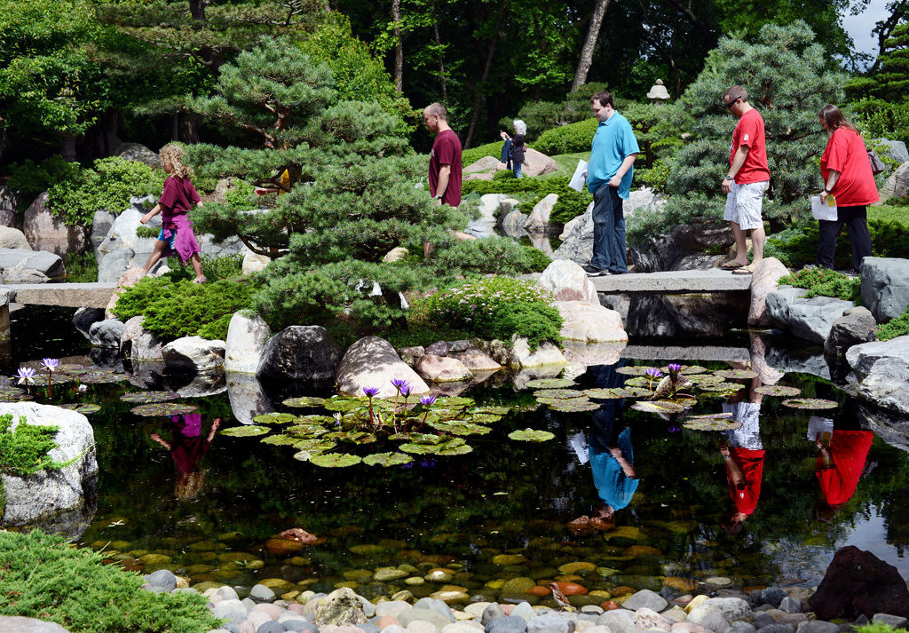 . Visitors explore The Charlotte Partridge Ordway Japanese Garden in Como Park.  (Pioneer Press: Chris Polydoroff)