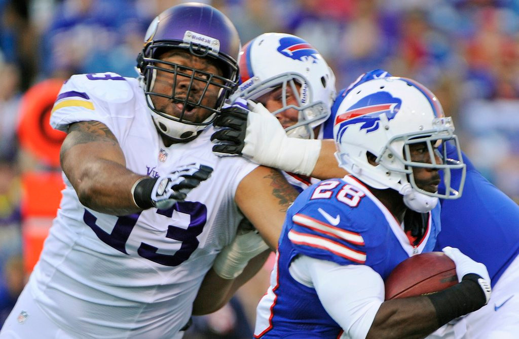 """. <p>6. KEVIN WILLIAMS <p>Feels much better knowing that cheap shot at his knee was technically legal. (unranked) <p><b><a href=\'http://www.twincities.com/sports/ci_23948656/minnesota-vikings-no-ligament-damage-kevin-williams-knee\' target=\""""_blank\""""> HUH?</a></b> <p>    (AP Photo/Gary Wiepert)"""
