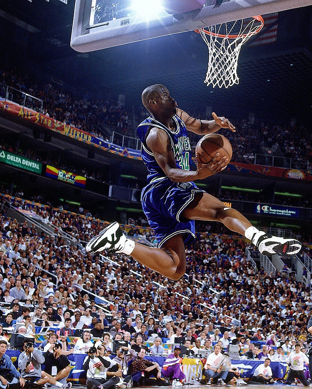 . 5. 1993: No. 5 Isaiah �J.R.� Rider, No. 29 Sherron Mills.  One of the Wolves� most memorable draft-night moments came when Rider predicted he�d win the dunk contest, which he did with his classic East Bay Funk dunk. Rider averaged 18.8 points a game in three seasons in Minnesota. Off-court troubles and selfish play kept him from living up to his potential. But he made his mark on the franchise with his cockiness and highlight-quality slams. Mills never played a game. Just think if Minnesota had picked 7-foot-7 Gheorge Muresan instead; at least we might have seen Billy Crystal at Timberwolves games to watch his �My Giant� co-star. (Photo by Nathaniel S Butler/NBAE via Getty Images)
