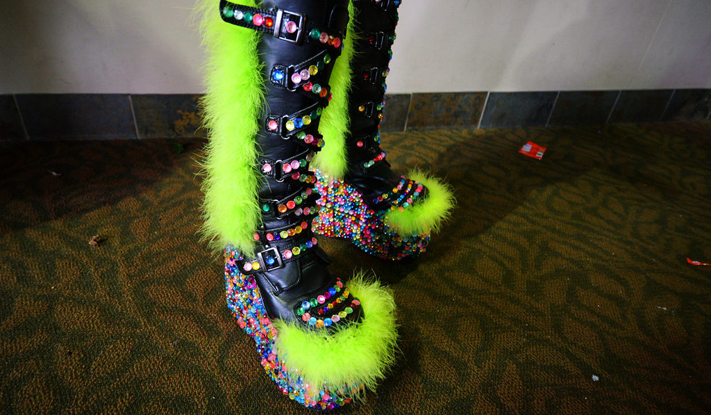 . Jesse Wetzel from Eau Claire, Wis., sports a pair of highly sequined boots at the Lady Gaga concert.  (Pioneer Press: John Autey)