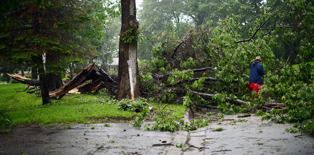 . Roseville resident Brad Peper begins to clear a large tree branch that fell Friday night, blocking Gluek Lane in front of his home. (Pioneer Press: Chris Polydoroff)