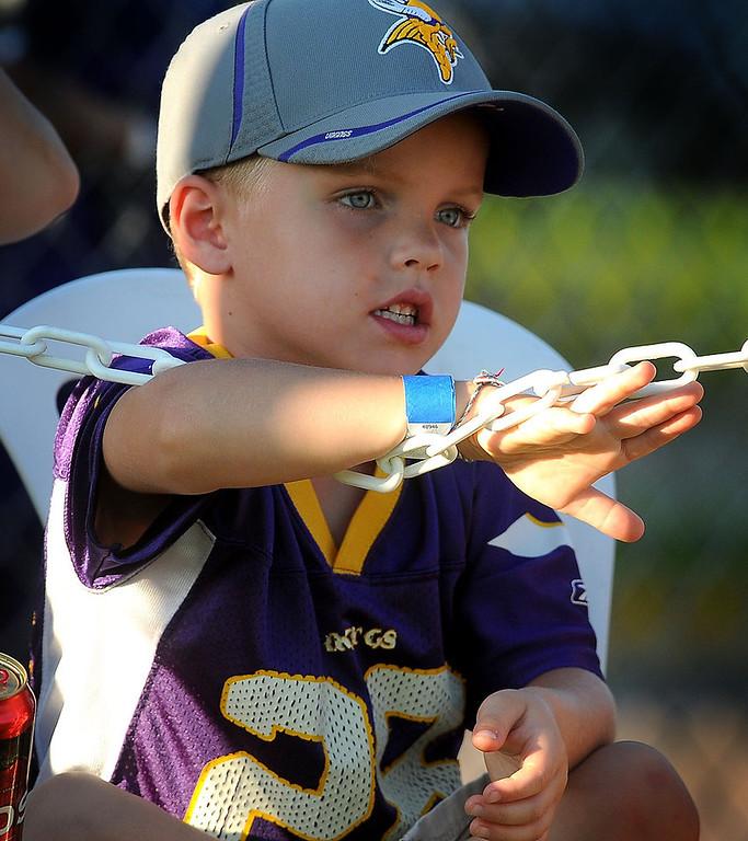 . Minnesota Vikings fan Jayton Frederick, 6, of Mankato watches the scrimmage .(Pioneer Press: Sherri LaRose-Chiglo)