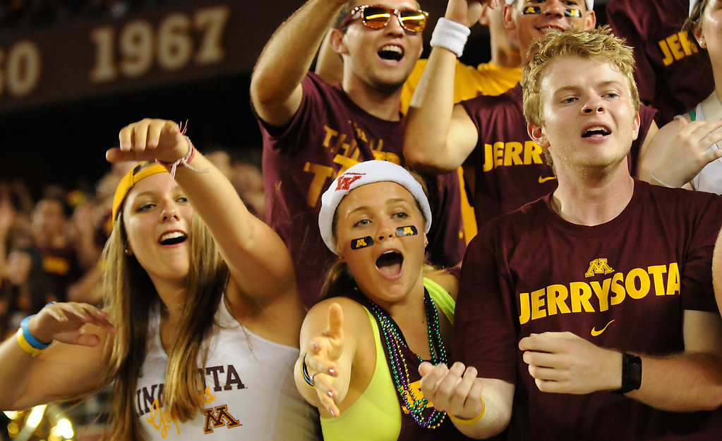 . Fans cheer during a timeout in the third quarter. (Pioneer Press: John Autey)