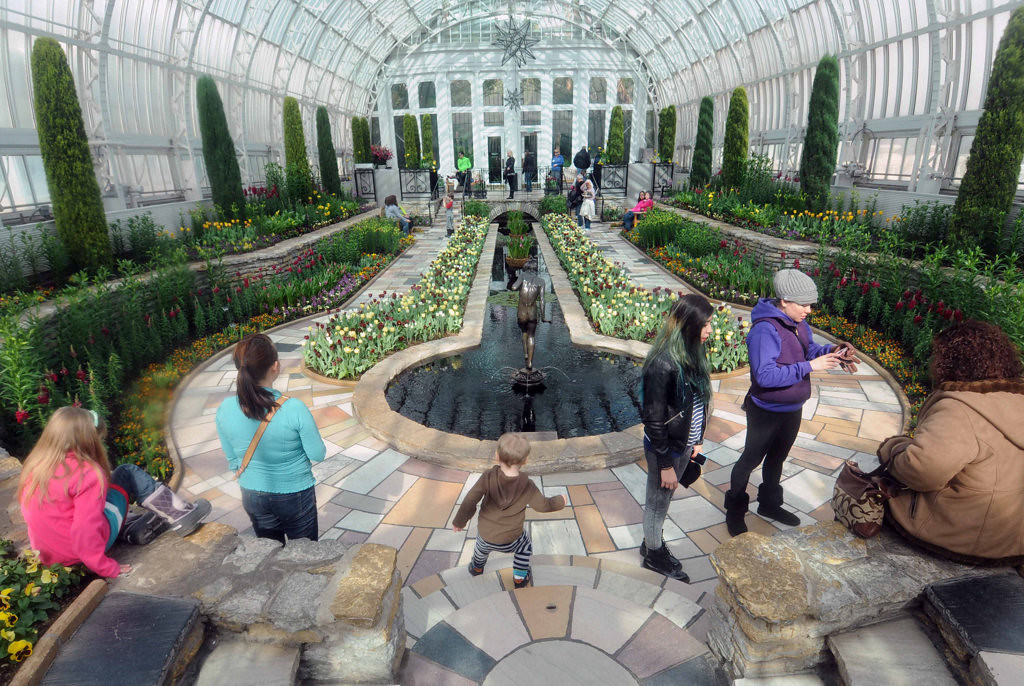 . Visitors including, from left, Ava Barnett, 6; her mother, Krista; and Uriah, 2, of Lino Lakes, enjoy the Spring Flower Show in the Sunken Garden at Como Park Conservatory in St. Paul on Tuesday, March 25, 2014.  (Pioneer Press: Scott Takushi)
