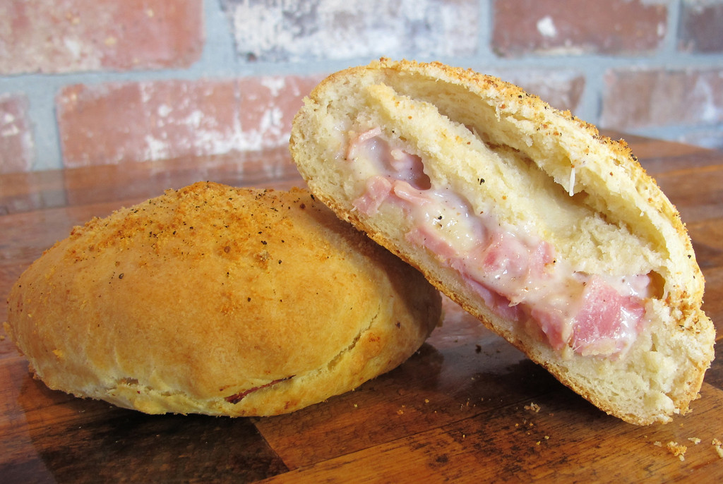 . Rustic Stuffed Scone � A savory, Parmesan-crusted, baked butter scone stuffed with all-natural ham, Swiss, mozzarella and Parmesan cheeses, and a creamy house-made béchamel sauce. At French Meadow Bakery, on Carnes Avenue between Underwood and Nelson streets. (Courtesy of Minnesota State Fair)