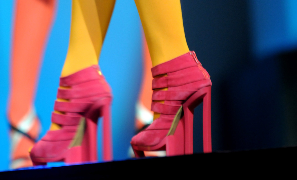 . A model wears shoes by Jean Paul Gaultier during the dress rehearsal for the annual Macy\'s Glamorama.  (Pioneer Press: Jean Pieri)