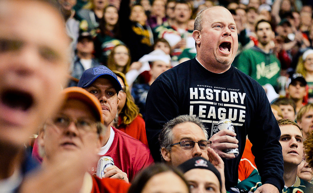 . Wild fans react to a high-sticking penalty called on Zach Parise during the second period against the Colorado Avalanche.  (Pioneer Press: Ben Garvin)