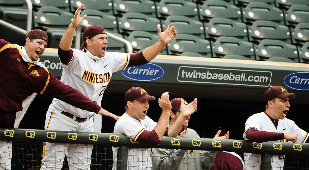 . Minnesota players react to a lead-off double by Matt Halloran in the ninth inning.   (Pioneer Press: Ben Garvin)