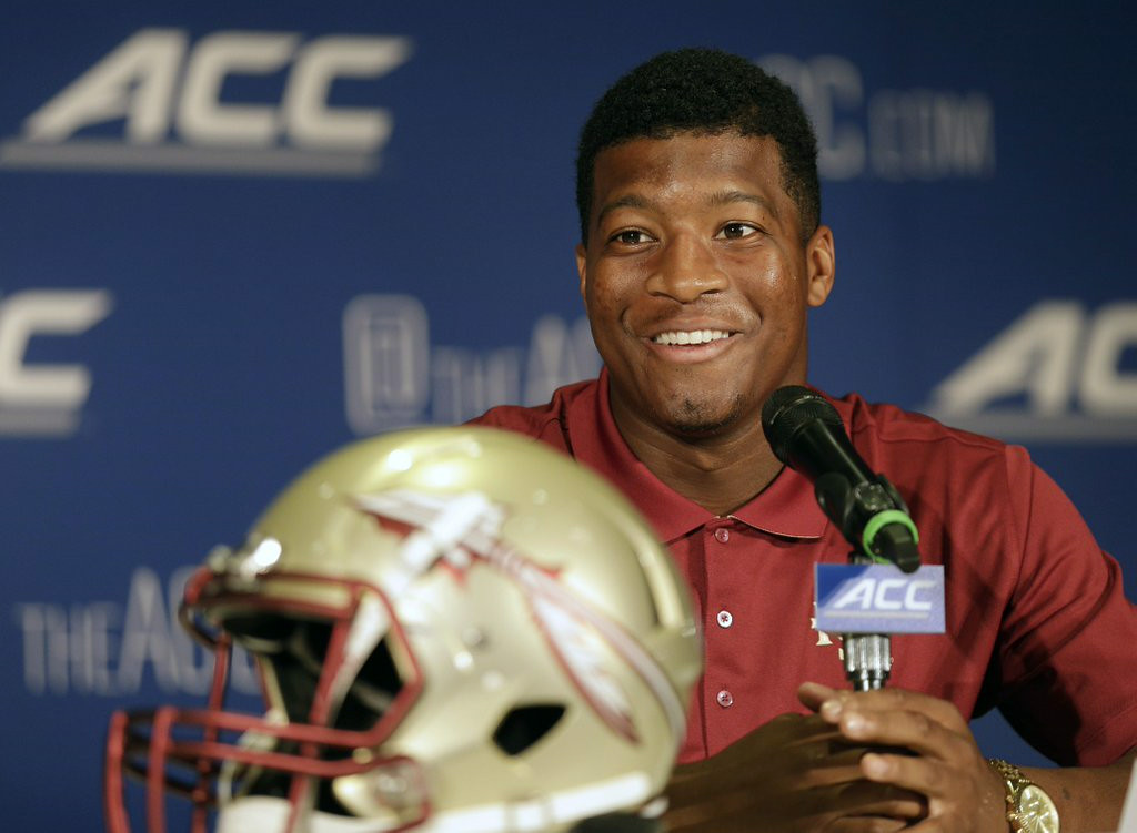 ". 7. JAMEIS WINSTON <p>Coach calls his crab leg shoplifting an �honest mistake,� breaking the NCAA record for enabling. (8) </p><p><b><a href=""http://www.si.com/college-football/2014/07/23/jimbo-fisher-jameis-winston-shoplifting-crablegs-honest-mistake\"" target=\""_blank\""> LINK </a></b> </p><p>    (AP Photo/Chuck Burton)</p>"