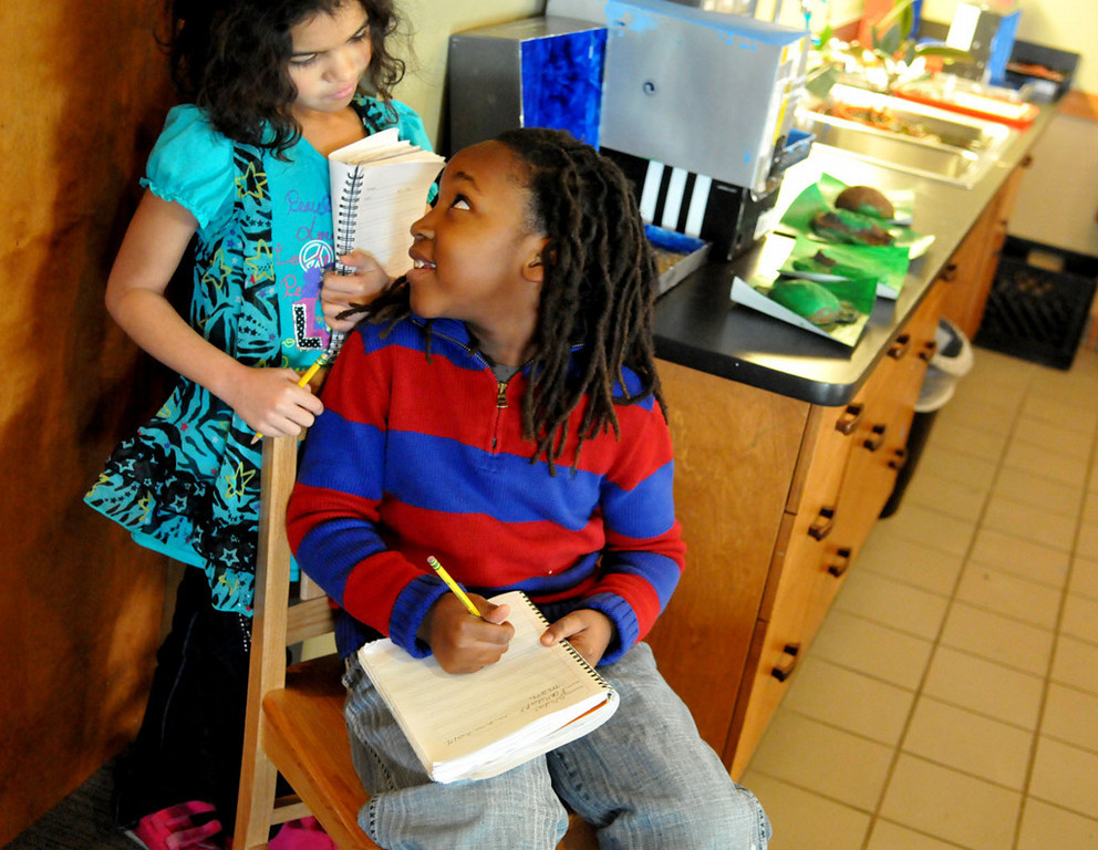 . Lower Elementary students Ayla Costello, left rear, and Michael Roberts discuss their daily journals where they record of what each student plans to do each school day.  (Pioneer Press: John Doman)