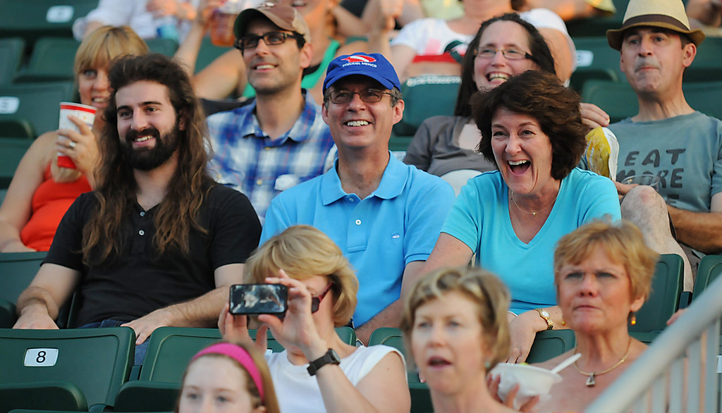 . Fans laugh at a funny music video about cats during the 2013 Internet Cat Video Festival presented by Walker Art Center at the Minnesota State Fair Grandstand, Wednesday, August 28, 2013 in Falcon Heights. (Pioneer Press: John Autey)