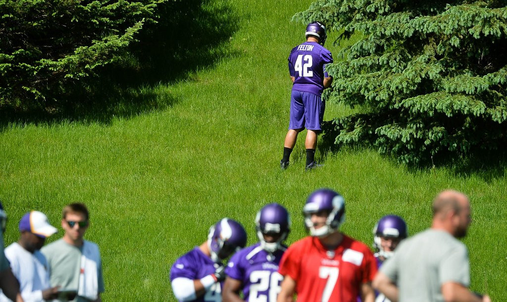 ". <p><b> The Vikings held their organized team activities last week at Winter Park, and team officials were overjoyed to see that � </b> <p> A. Adrian Peterson is recovered from his groin surgery <p> B. Matt Cassel is running the first-team offense smoothly <p> C. Jerome Felton has overcome his stage fright <p><b><a href=\'http://blogs.twincities.com/vikings/2012/05/31/few-thoughts-from-vikings-otas/\' target=""_blank\"">LINK</a></b> <p>    (Pioneer Press: Ben Garvin)"