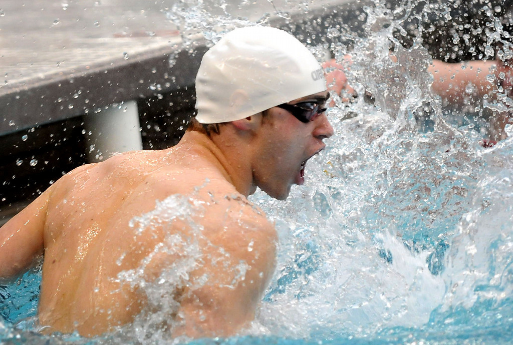 . Isaac Erickson of Viriginia celebrates his win in the 50 Yard Freestyle with a time of 21.27, during the Class A State Swimming and Diving Meet at the University of Minnesota Aquatic Center in Minneapolis on Saturday, March 1, 2014. (Pioneer Press: Sherri LaRose-Chiglo)
