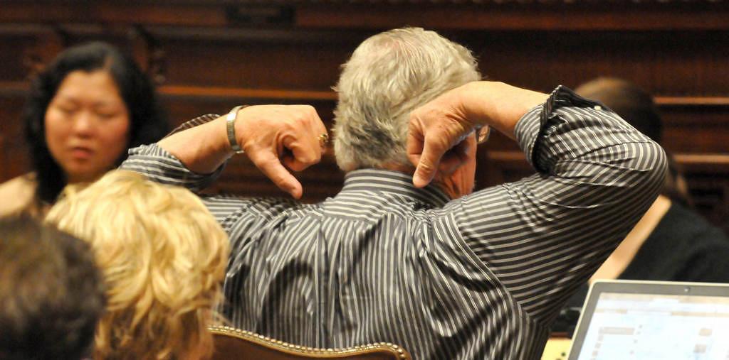 . Rep. Tony Cornish, R-Vernon Center, stretches as the debate continues on the child care unionization bill in the House.  (Pioneer Press: John Doman)