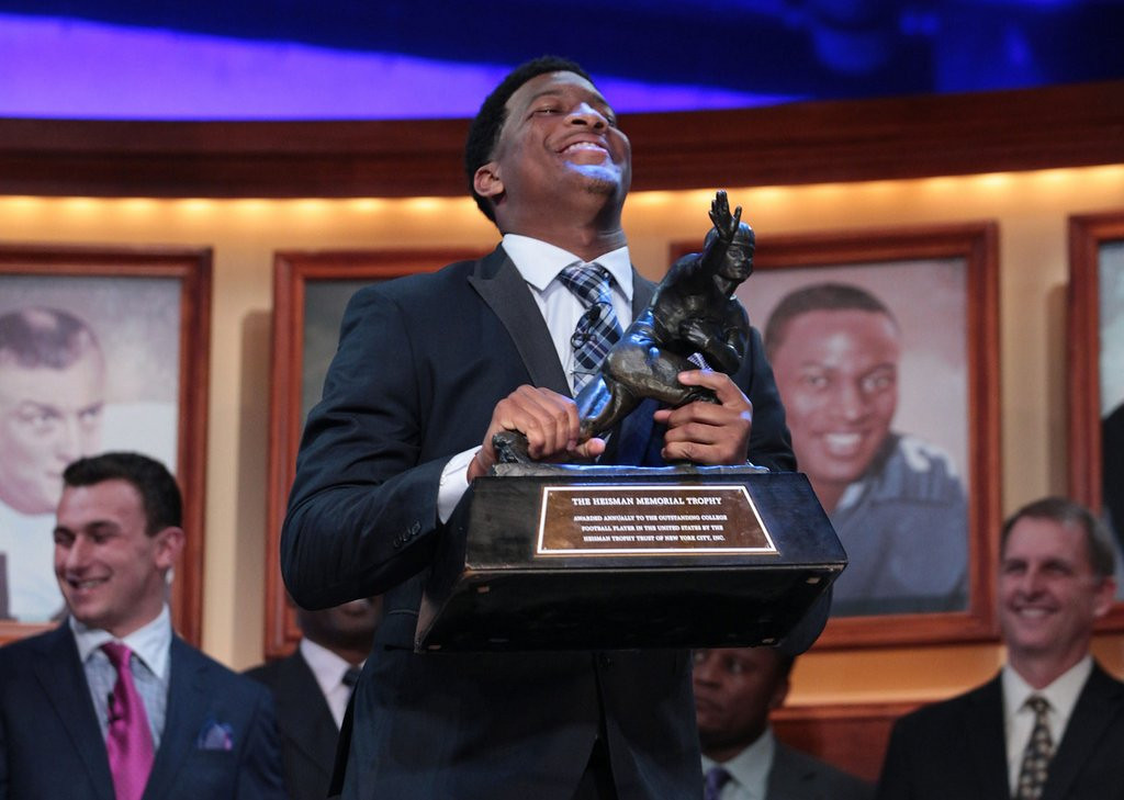 """. <p>38. JAMEIS WINSTON <p>You didn�t know the Heisman Trophy winner a year ago, but the Tallahassee police sure did. <p><b><a href=\'http://www.tampabay.com/sports/college/timeline-when-did-rape-allegations-against-jameis-winston-get-filed/2154277\' target=\""""_blank\""""> HUH?</a></b> <p>    (AP Photo/Heisman Trust, Kelly Kline)"""
