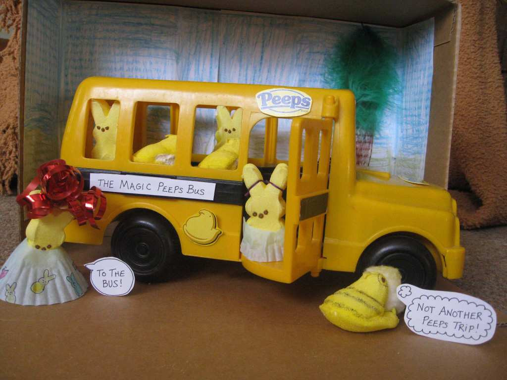 ". ""The Magic Peeps Bus,\"" by Audrey King, 6, and her mom, Emily"