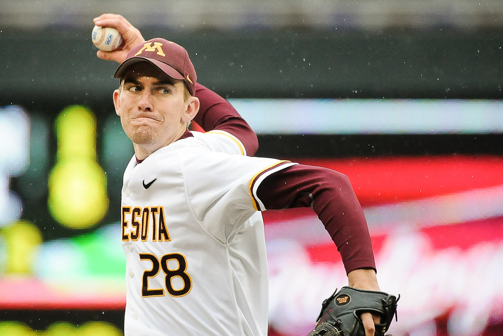 . Gophers reliever Ben Meyer pitches in the sixth inning against Illinois. (Pioneer Press: Ben Garvin)