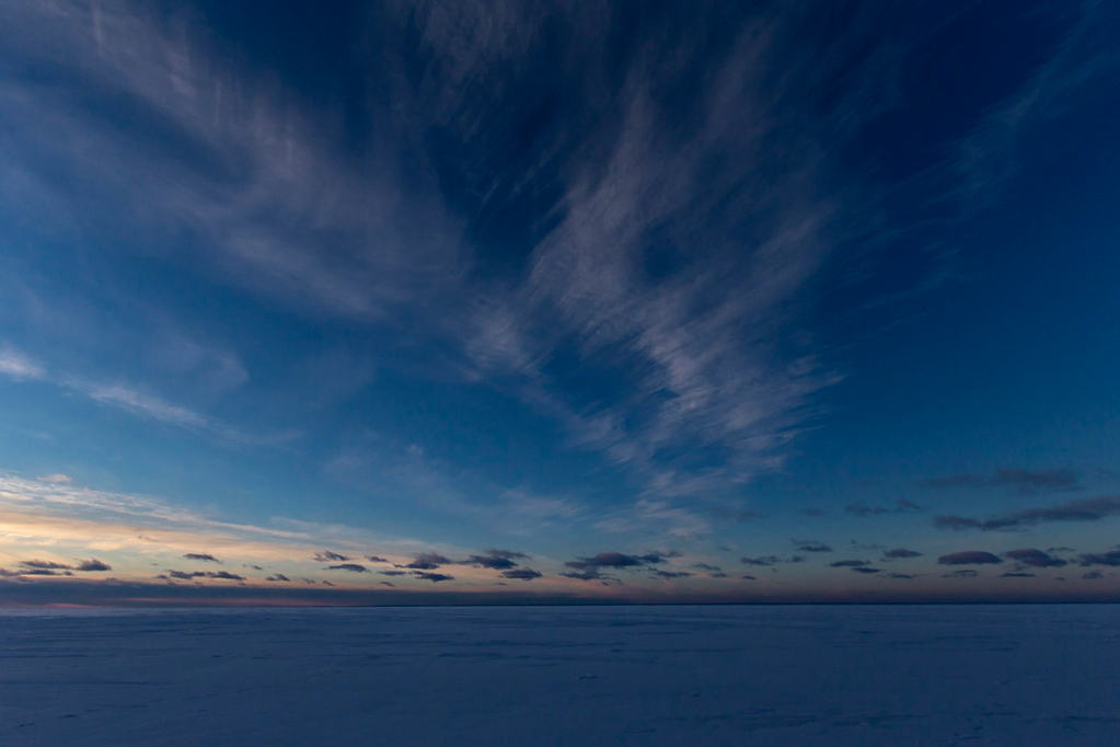 . The sunset over Lake Superior\'s frozen Mawikwe Bay. (Pioneer Press: Andy Rathbun)