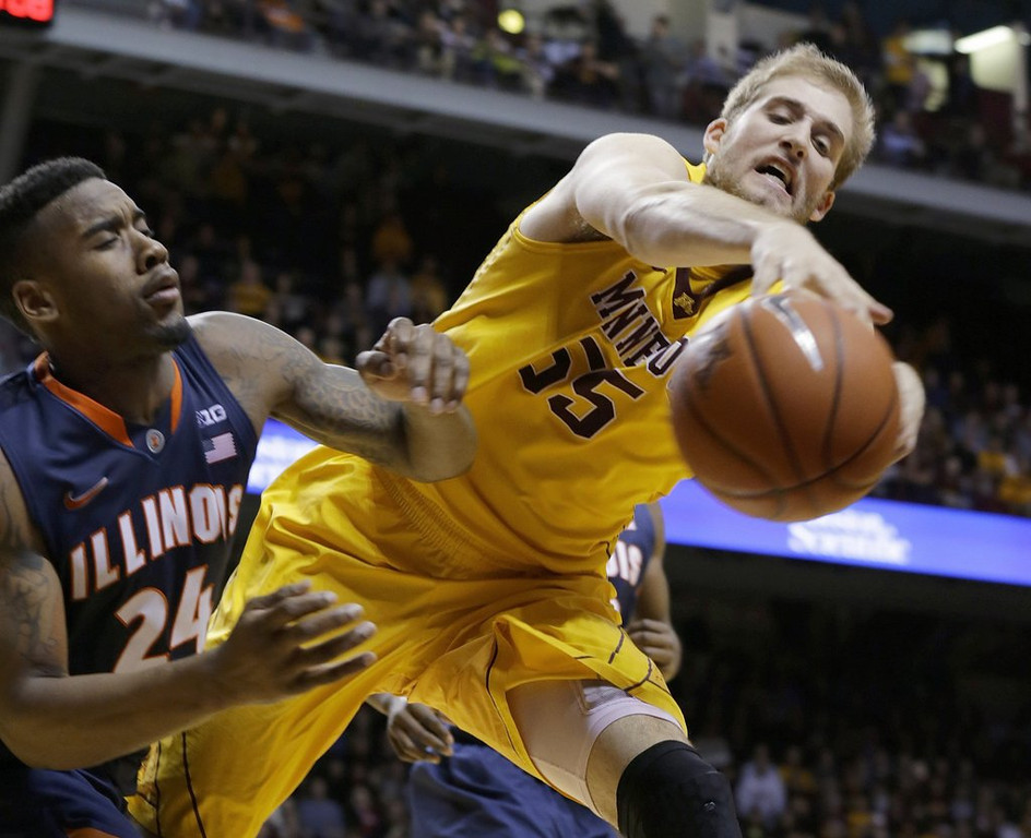 ". <p>2. (tie) MINNESOTA GOPHERS <p>Loss to Illini proves they�re NIT worthy. (unranked) <p><b><a href=\'http://www.twincities.com/gophers/ci_25186791/gophers-basketball-loss-lowly-illinois-hurts-ncaa-tournament\' target=""_blank\""> HUH?</a></b> <p>   (AP Photo/Ann Heisenfelt)"