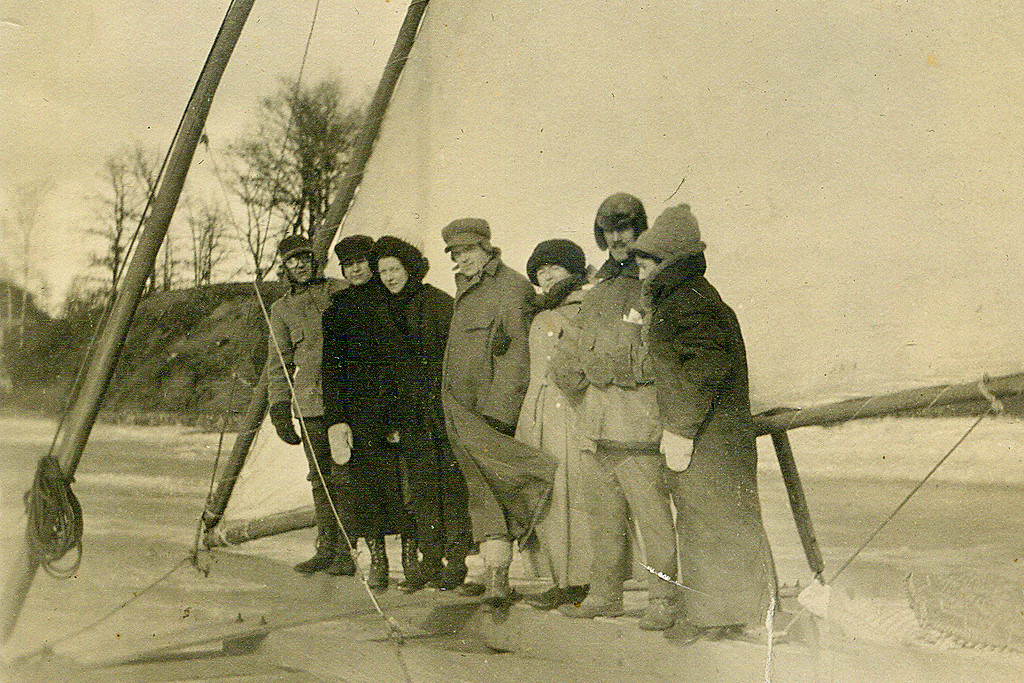 ". RUTH DESSEL of Shoreview: ""This is a photo of my grandmother and friends ice sailing on White Bear Lake, circa 1910. My grandmother, Julia Houlahan Roach, is third on the left, and her good friend Marie Fischer is believed to be on the right. Others in the photo are unknown. <p>\""At that time, Julia\'s home was Elkader, Iowa; Marie was from St. Paul. They became good friends while attending school in Wisconsin. After graduation, Julia met and married my grandfather, Joseph Roach, and they raised a family of 12 children in Iowa. It is believed Marie returned to St. Paul and also married. 