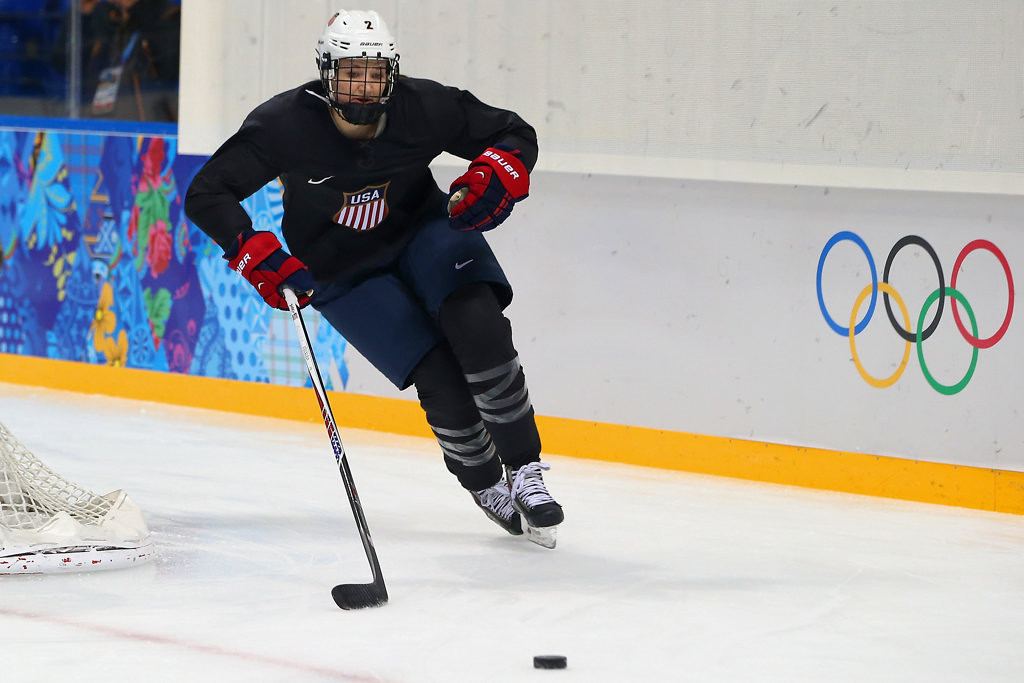 . Roseville�s Lee Stecklein, 19, is the youngest and tallest player on the club, standing an even 6-feet.  She deferred her sophomore season with the Gophers to compete at the Games that start Friday in Sochi, Russia.  (Getty Images: Bruce Bennett)