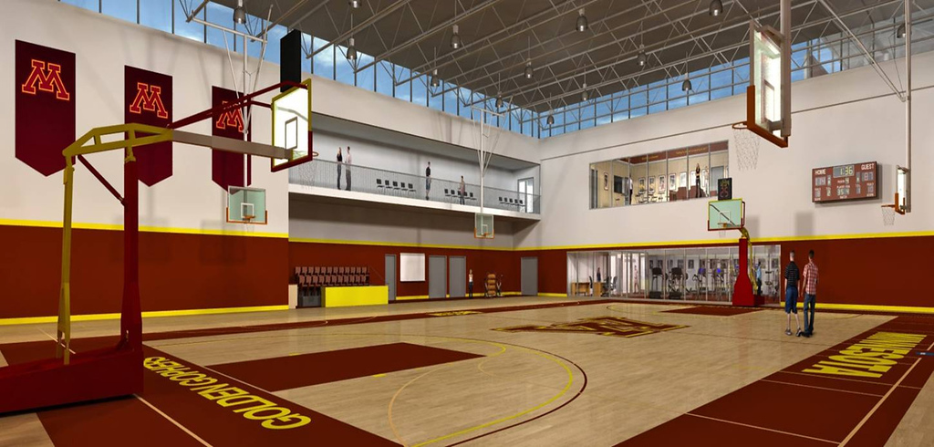 . A design for the University of Minnesota men\'s and women\'s proposed basketball practice facility, which is a part of a planned central athletic village. (Courtesy of the University of Minnesota)