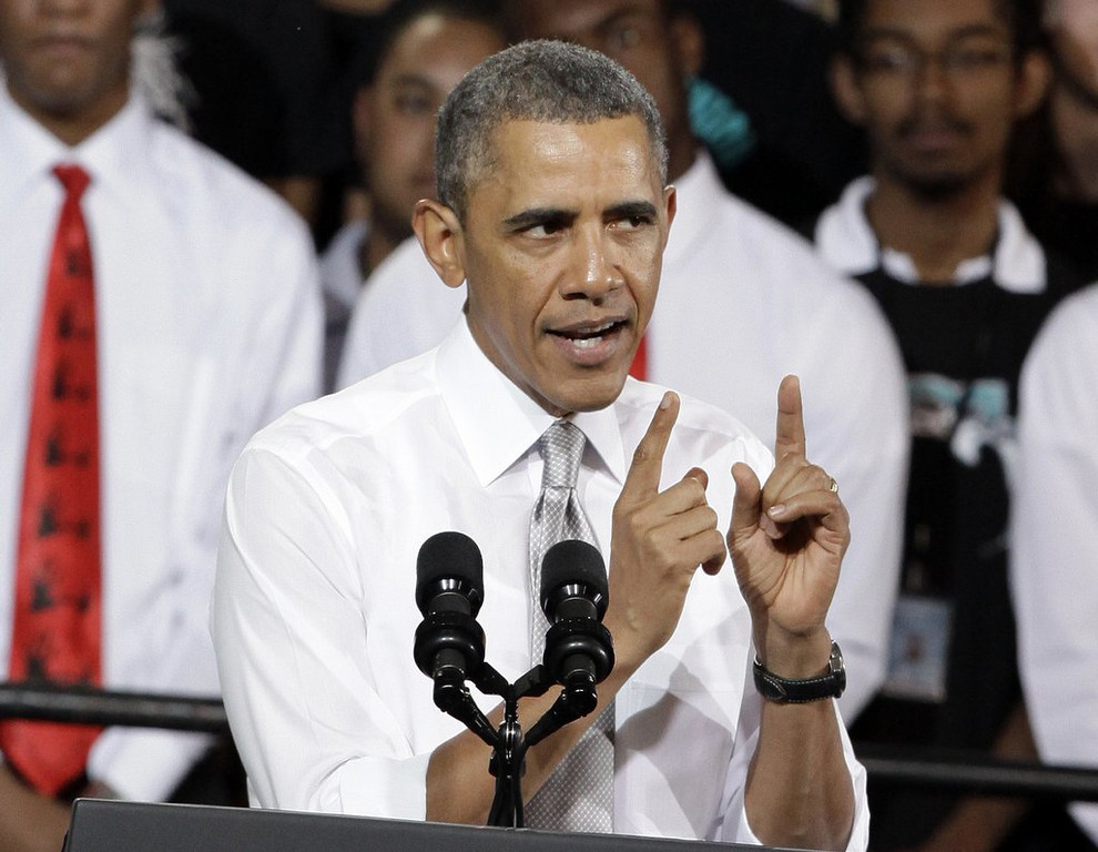 """. <p><b> President Obama faced ridicule after a White House gathering in which he proved to be � </b> <p> A. Incapable of spelling R-E-S-P-E-C-T <p> B. As dim as Dan Quayle <p> C. All of the above <p><b><a href=\' http://www.foxnews.com/politics/2014/03/07/obama-flubs-spelling-respect/\' target=\""""_blank\"""">HUH?</a></b> <p>   <br> <p><b>ANSWERS</b> <p> The correct answer is always \""""A\"""" ... unless you feel very strongly otherwise. <p> <br><p><i> You can follow Kevin Cusick at <a href=\'http://twitter.com/theloopnow\'>twitter.com/theloopnow</a>.</i>    (AP Photo/Javier Galeano)"""