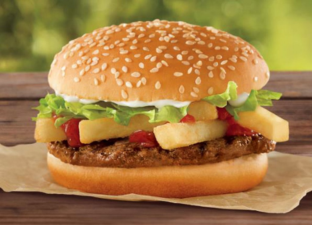 """. <p>10. (tie) BURGER KING <p>Unveils new sandwich for folks too lazy to put on their own french fries. (unranked) <p><b><a href=\'http://www.twincities.com/life/ci_23953252/burger-king-offer-french-fry-burger-1\' target=\""""_blank\""""> HUH?</a></b> <p>    (AP Photo/Burger King)"""
