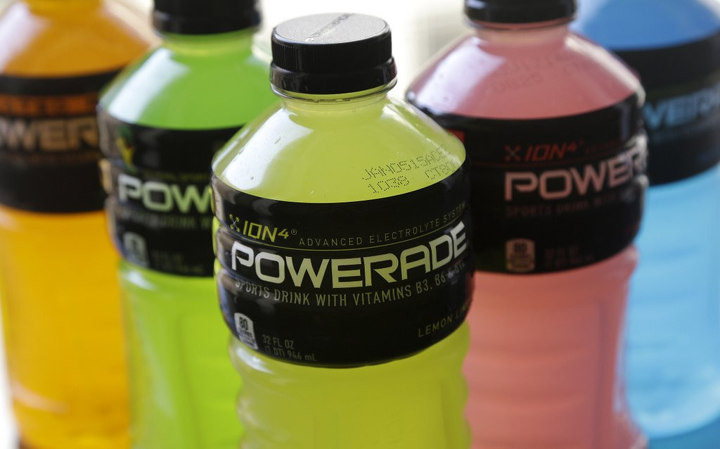 ". <p><b> Coca-Cola officials announced Monday that the company would stop using this product in its Powerade, Fanta and Fresca soft drinks � </b> <p> A. Brominated vegetable oil <p> B. High fructose corn syrup <p> C. Teamster sweat <p><b><a href=\'http://www.twincities.com/business/ci_25695075/powerade-drops-controversial-ingredient\' target=""_blank\""> LINK </a></b> <p>    (AP Photo/Jeff Chiu)"
