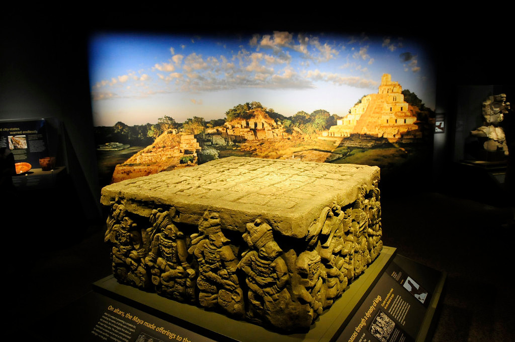""". Replica of Altar Q, from the Late Classic Period, A.D. 776,  at Copan, Honduras, on display as part of \""""Maya: Hidden Worlds Revealed\"""". (Pioneer Press: Scott Takushi)"""