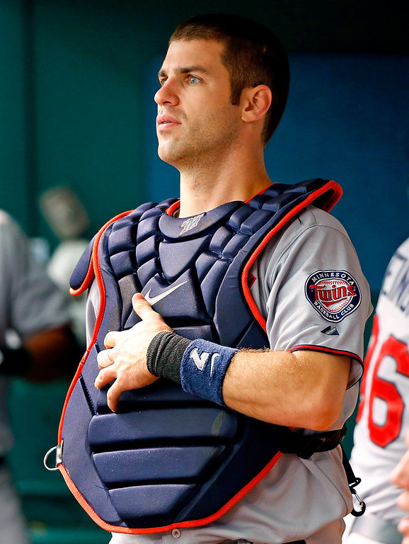 . Twins catcher Joe Mauer gears up in the middle of the first inning against the Rays.  (Photo by J. Meric/Getty Images)
